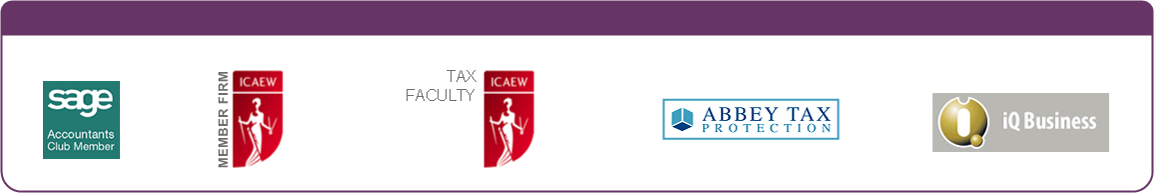Sage Accountants Club Memember - ICAEW Member Firm - ICAEW Audit & Assurance Faculty - ACAEW Tax Faculty - Abbey Tax Protection - iQ Business - Logos image.